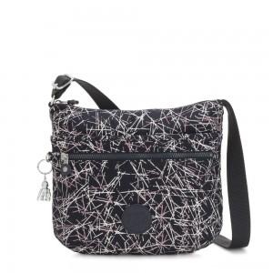 Kipling ARTO Shoulder Bag Across Body Navy Stick Print
