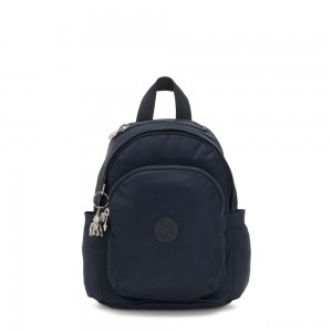 Kipling DELIA MINI Small Backpack with Front Pocket and Top Handle True Blue Twill