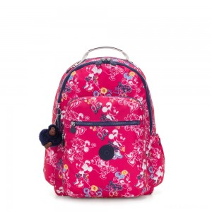 Kipling D SEOUL GO Large Backpack with Laptop protection Doodle Pink