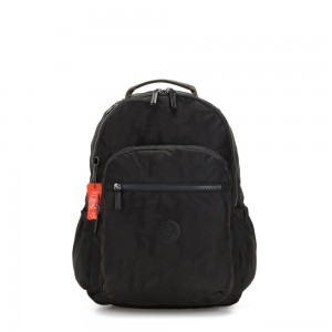 Kipling SEOUL GO Large backpack with laptop protection Camo Black