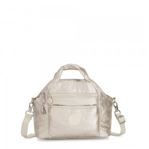 Kipling MEORA Medium tote CLOUD METAL