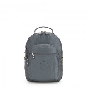 Kipling SEOUL S Small Backpack with Tablet Compartment Steel Grey Metallic