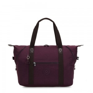 Kipling ART M Travel Tote With Trolley Sleeve Dark Plum