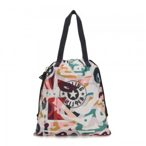 Kipling NEW HIPHURRAY Small Foldable Tote with drawstring Music Print