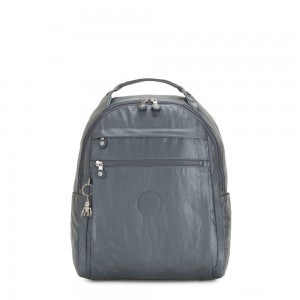 Kipling MICAH Medium Backpack Steel Grey Metallic