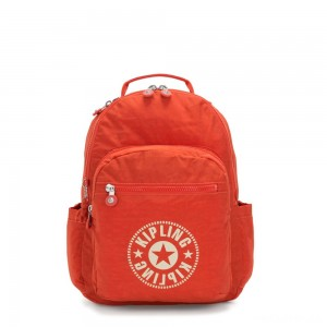 Kipling SEOUL Water Repellent Backpack with Laptop Compartment Funky Orange Nc
