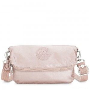 Kipling IBRI Medium pouch (with wristlet) Metallic Rose Femme Strap
