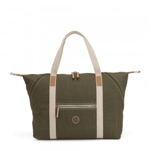 Kipling ART M Travel Tote with Trolley Sleeve Urban Khaki