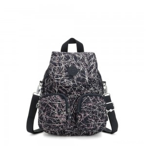 Kipling FIREFLY UP Small Backpack Covertible To Shoulder Bag Navy Stick Print