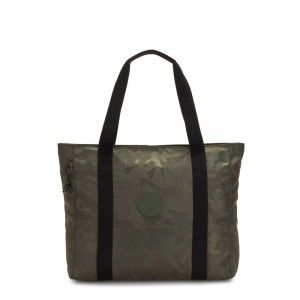 Kipling ASSENI Large Tote Bag with Internal Compartments Satin Camo