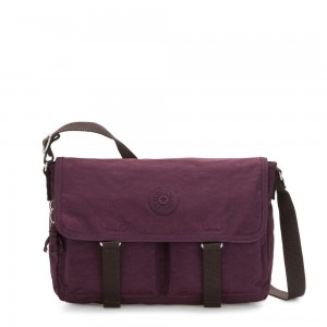Kipling IKIN Medium Messenger Crossbody Bag Dark Plum
