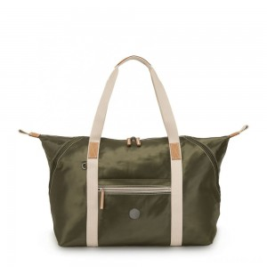 Kipling ART M Travel Tote with Trolley Sleeve Elevated Green