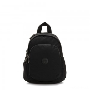 Kipling DELIA MINI Small Backpack with Front Pocket and Top Handle Rich Black