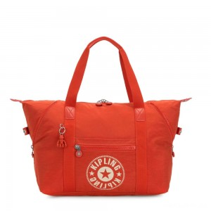 Kipling ART M Medium Tote Bag with 2 Front Pockets Funky Orange Nc