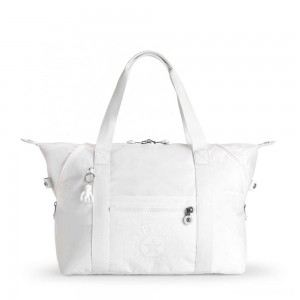 Kipling ART M Medium Tote Bag with 2 Front Pockets Lively White