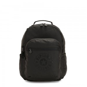 Kipling SEOUL Water Repellent Backpack with Laptop Compartment Raw Black