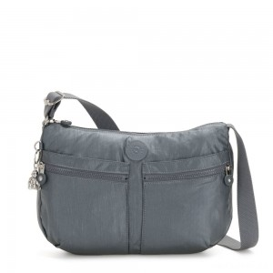 Kipling IZELLAH Medium Across Body Shoulder Bag Steel Grey Metallic