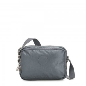 Kipling SILEN Small Across Body Shoulder Bag Steel Grey Metallic
