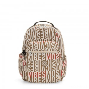 Kipling SEOUL Large backpack with Laptop Protection Studio Print