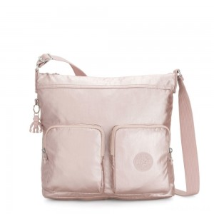 Kipling EIRENE Shoulderbag with External Front Pockets Metallic Rose Femme Strap