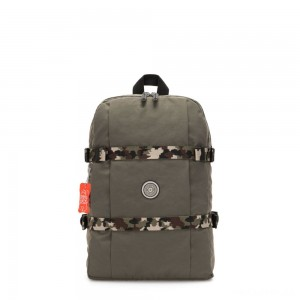 Kipling TAMIKO Medium backpack with buckle fastening and laptop protection Cool Moss C