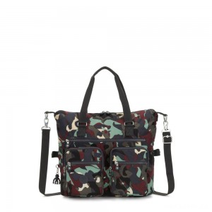 Kipling NEW ERASTO Large Tote with Front Pockets Camo Large