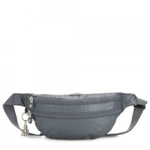 Kipling SARA Medium Bumbag Convertible to Crossbody Bag Steel Grey Metallic