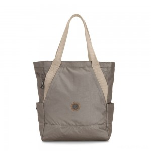 Kipling ALMATO Large Spacious Tote Bag Fungi Metal