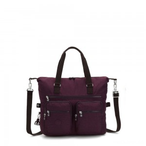 Kipling NEW ERASTO Large Tote with Front Pockets Dark Plum