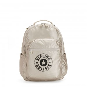 Kipling SEOUL Water Repellent Backpack with Laptop Compartment Cloud Metal Combo