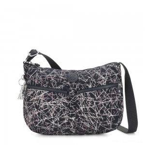 Kipling IZELLAH Medium Across Body Shoulder Bag Navy Stick Print