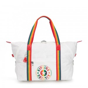 Kipling ART M Medium Tote Bag with 2 Front Pockets Rainbow White