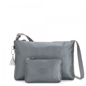 Kipling ATLEZ DUO Small Crossbody with Matching Pouch Steel Grey Gifting