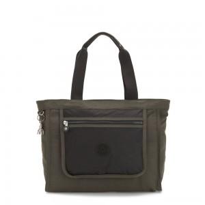 Kipling LEOTA Medium Tote Bag with Large Front Pocket Cold Black Olive
