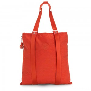 Kipling LOVILIA Medium Backpack Convertible to Handbag and Shoulderbag Funky Orange