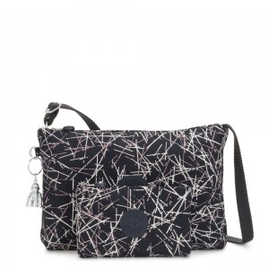 Kipling ATLEZ DUO Small Crossbody with Matching Pouch Navy Stick Print Gifting