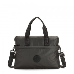 Kipling ELSIL Laptop Bag with Adjustable Strap Black Metallic