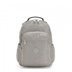 Kipling SEOUL Large backpack with Laptop Protection Chalk Grey