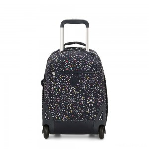 Kipling SOOBIN LIGHT Large wheeled backpack with laptop protection Happy Dot Print