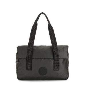 Kipling PERLANI S Medium Laptop Bag with Trolly Sleeve Black Metallic
