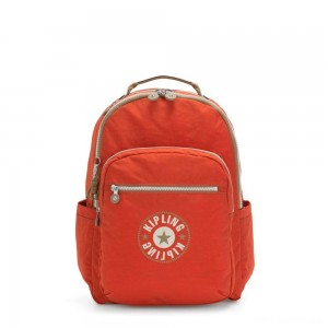 Kipling SEOUL Large backpack with Laptop Protection Funky Orange Block