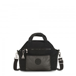 Kipling MEORA Medium Handbag with Removable Shoulder Strap METAL BLACK BLOCK