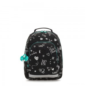 Kipling CLASS ROOM S Small backpack with laptop protection Girl Doodle
