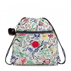 Kipling SUPERTABOO Medium Drawstring Bag Doodle Play Bl