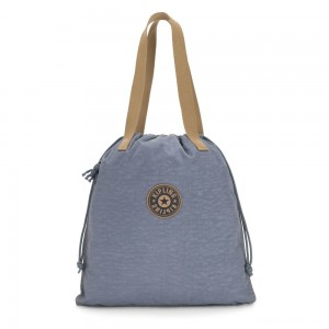 Kipling NEW HIPHURRAY Small Foldable Tote with drawstring Stone Blue Block