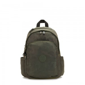 Kipling DELIA Medium Backpack with Front Pocket and Top Handle Satin Camo