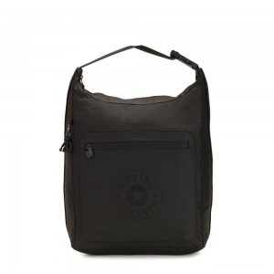 Kipling MORIE Large Backpack convertible to Shoulderbag Raw Black