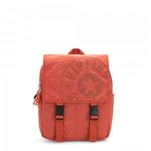 Kipling LEONIE S Small Drawstring Backpack with Push Buckle Hearty Orange