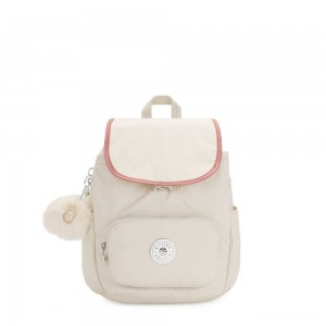 Kipling HANA S Small backpack with pompom monkey keyhanger Dazz White C