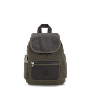 Kipling WAKITA Small Backpack with Front Pocket Cold Black Olive